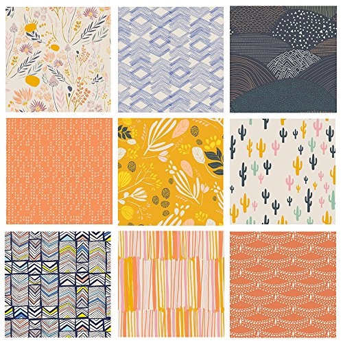 Southwestern Quilt Bundle | Fabric with Cactus | Navy Yellow Orange | Desert Fabrics | Leah Duncan for Art Gallery Fabrics (Fat quarters) by Art Gallery Fabrics