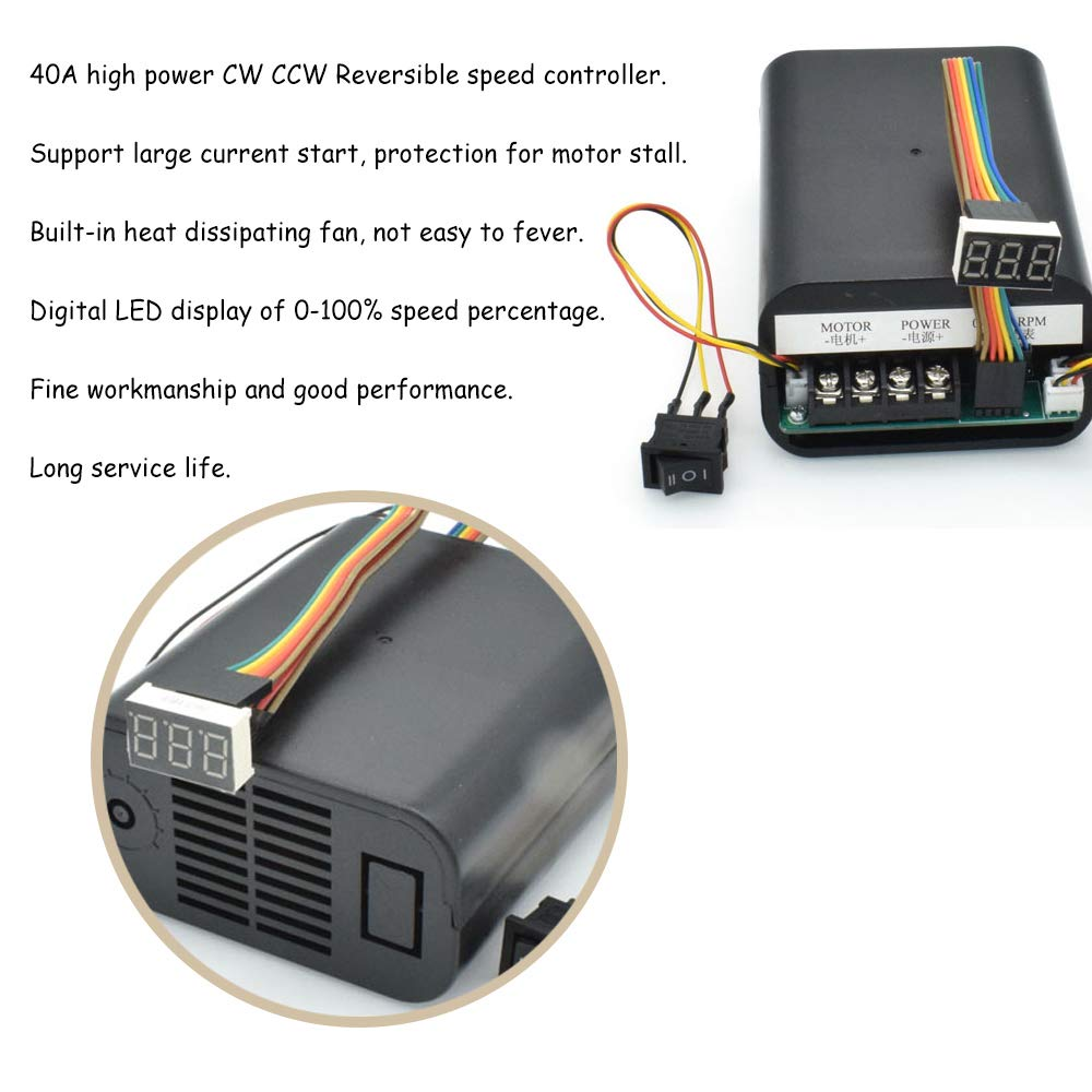 Acxico 1Pcs PWM Motor Speed Controller DC 10-55V 60A CW CCW Reversible Switch Digital LED Display Potentiometer Switch Built-in Brushless Fan