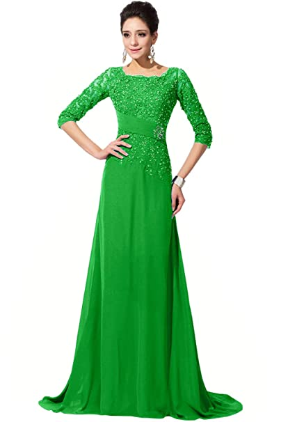 b5771cd8b7 DINGZAN Vintage Chiffon and Applique Mother of The Bride Dresses Half  Sleeves Bridesmaid Gowns for Wedding
