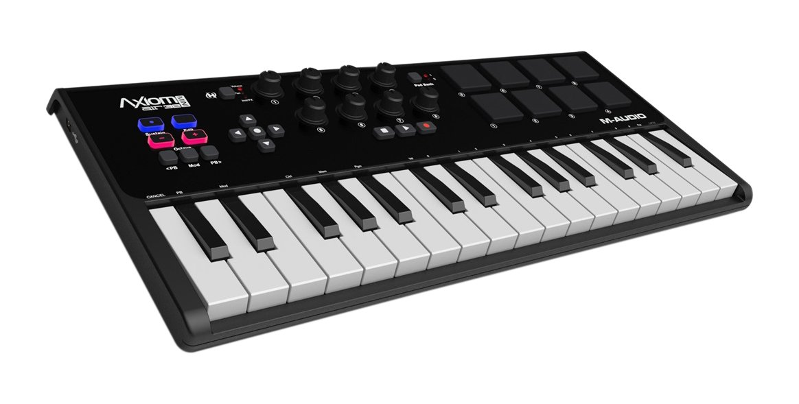 M Audio Axiom Air Mini 32 | Premium 32 Key Usb Midi Keyboard & Drum Pad Controller (8 Pads/8 Knobs), Vip Software Download Included by M Audio