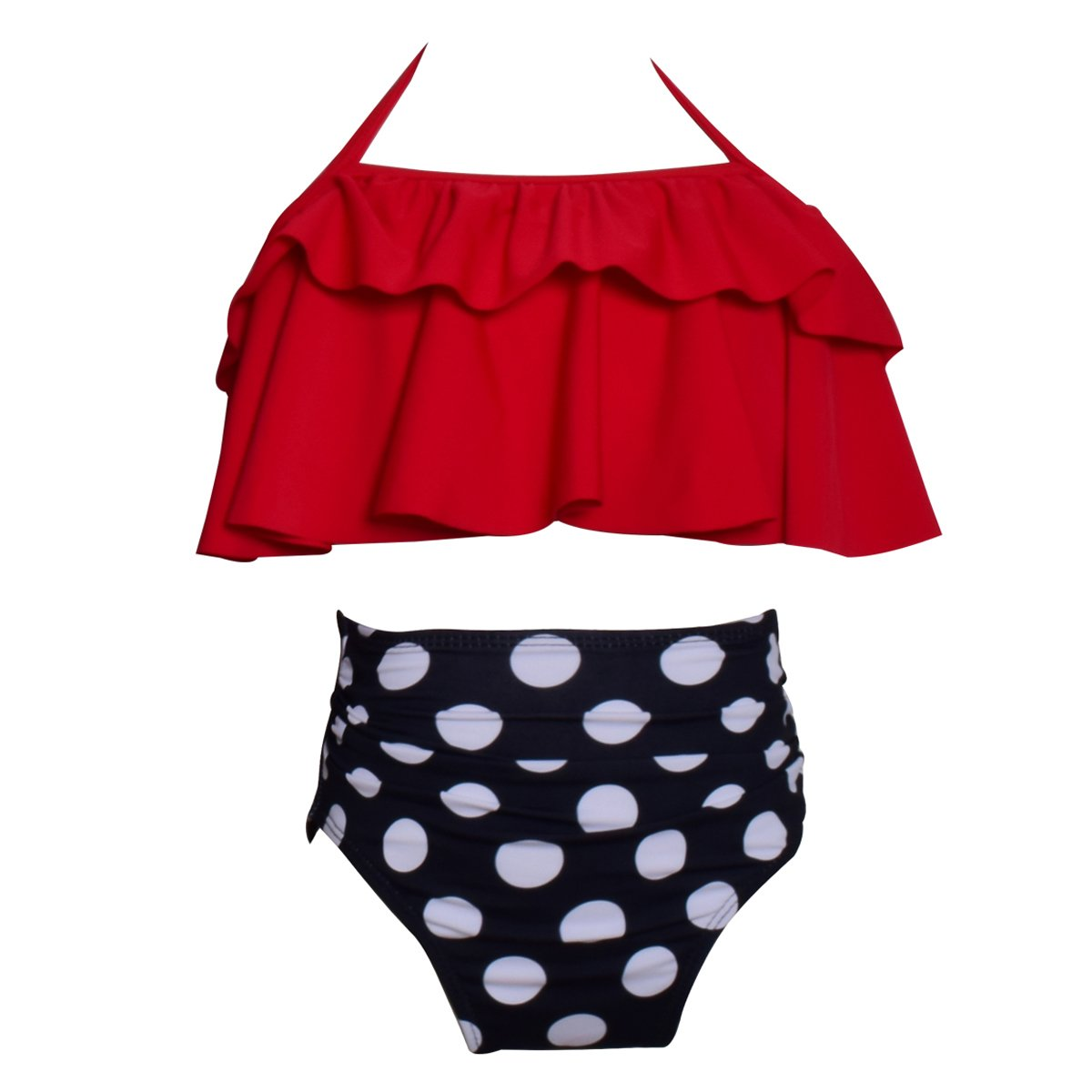 Happy Cherry Swimwear Halter Neck High Waisted Swimsuit set for 2-8T Baby Girls