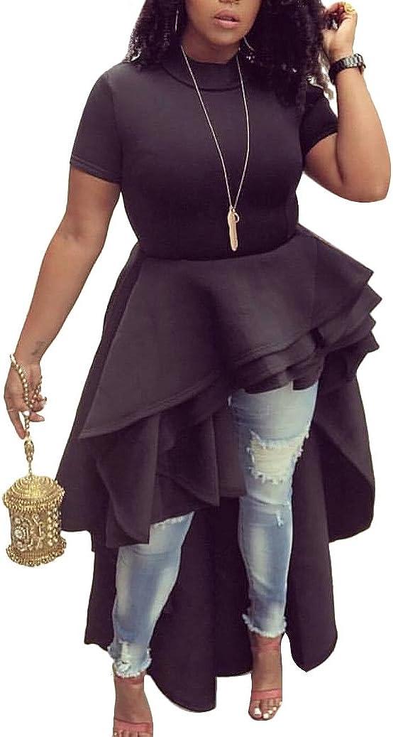 Memorose Womens Ruffle High Low Asymmetrical Short Sleeve Bodycon Tops Blouse Shirt Dress