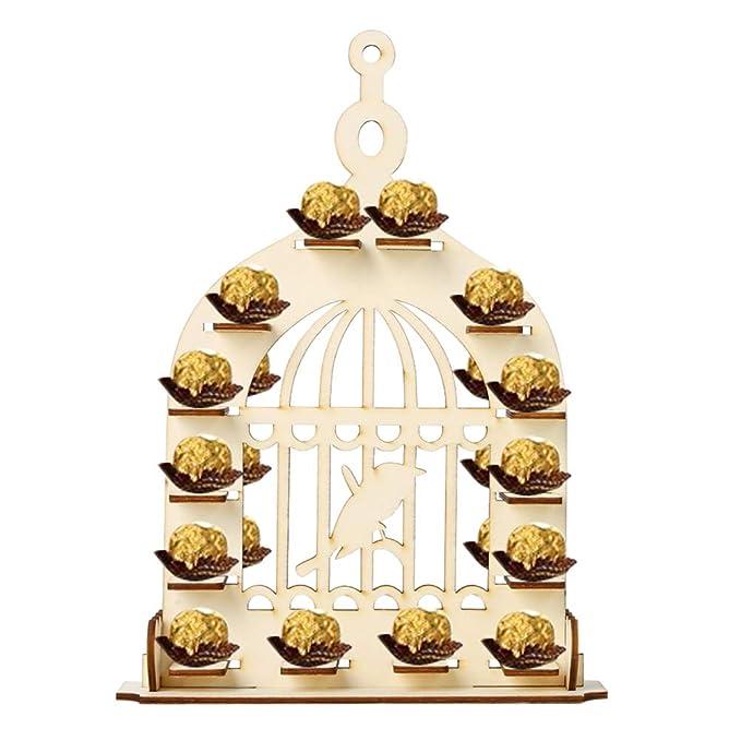 Amosfun Exhibición de Chocolate de Madera Forma de Jaula de ...