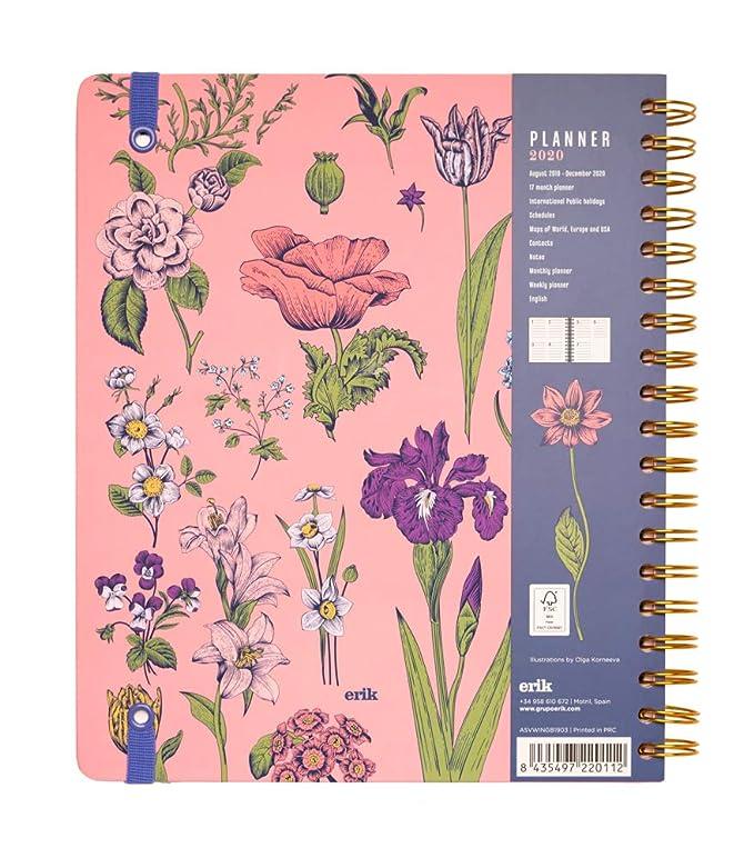 Erik 2019/2020 SV Wire-O Big Size - Agenda escolar de Planificar la Semana, Rosa (Flowers)