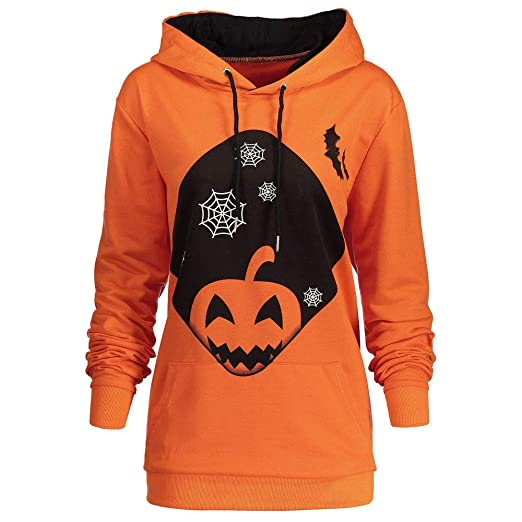 UONQD Women Hooded Halloween Pumpkin Pocket Drawstring Hoodie Sweatshirt Tops (Small,Orange)