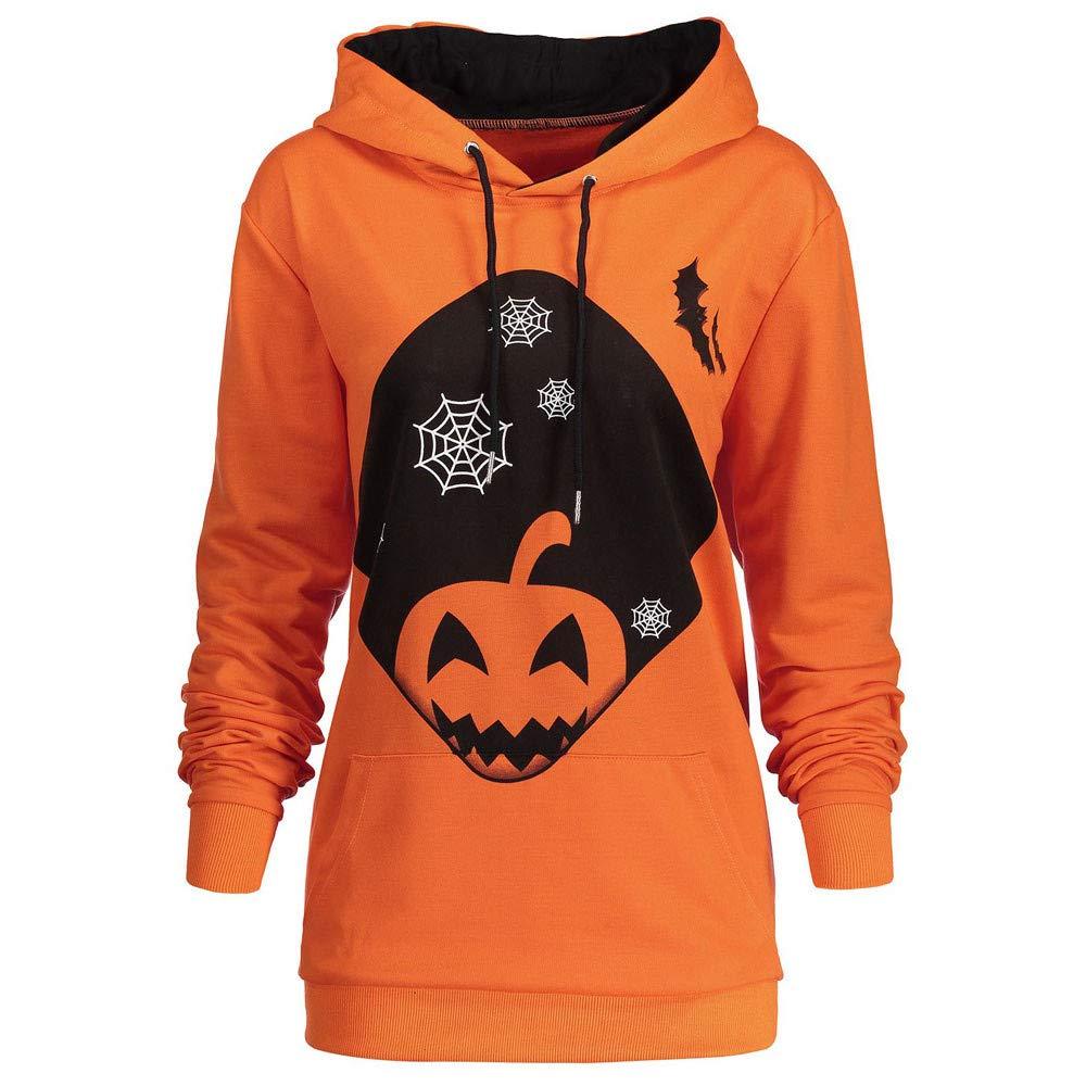 kaifongfu Halloween Women's Long Sleeve Hoodie with Pumpkin Print Sweatshirt Tops (Orange,M)