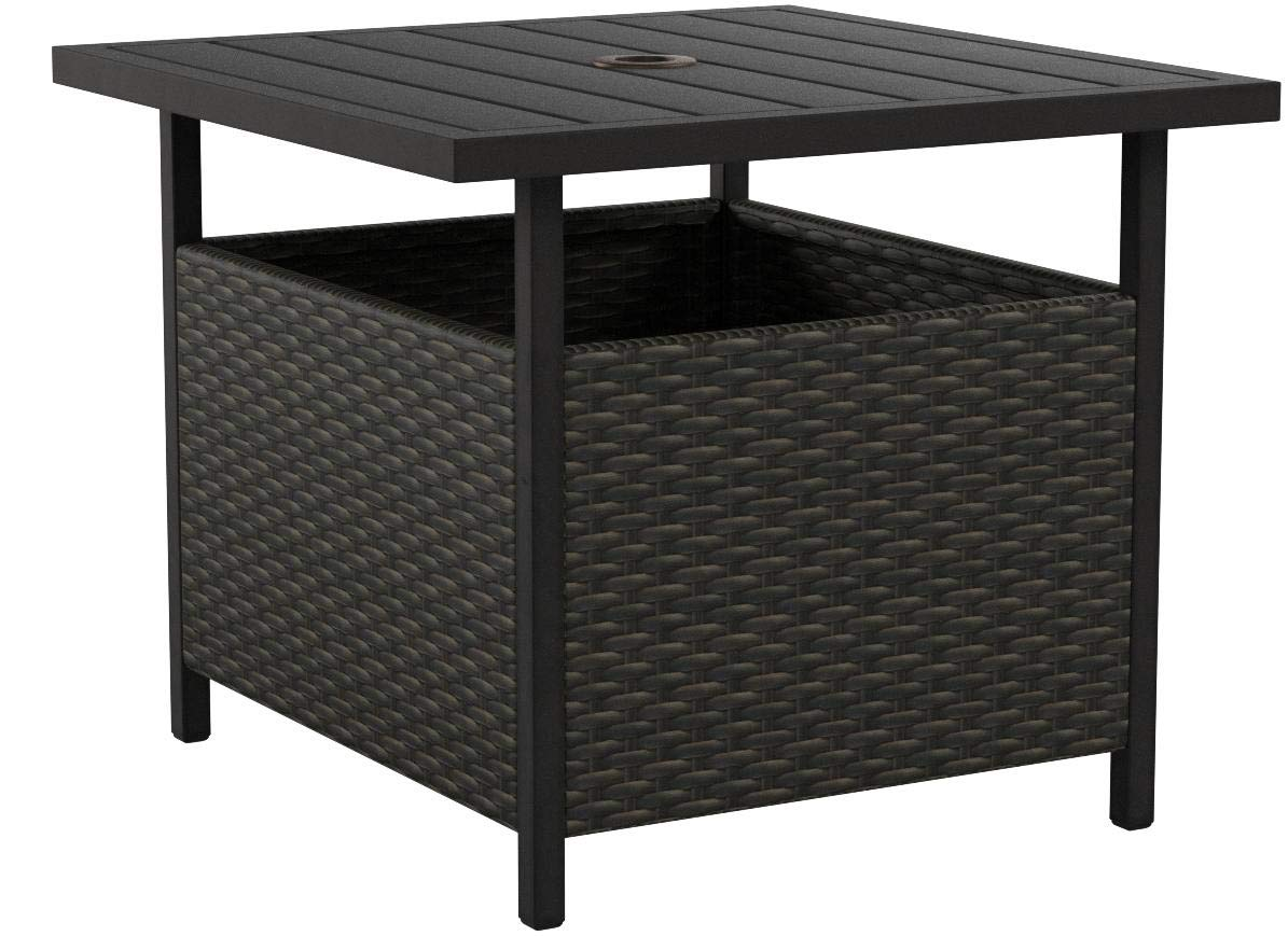Iwicker Patio PE Wicker Umbrella Side Table Stand, Outdoor Bistro Table With Umbrella Hole by Iwicker