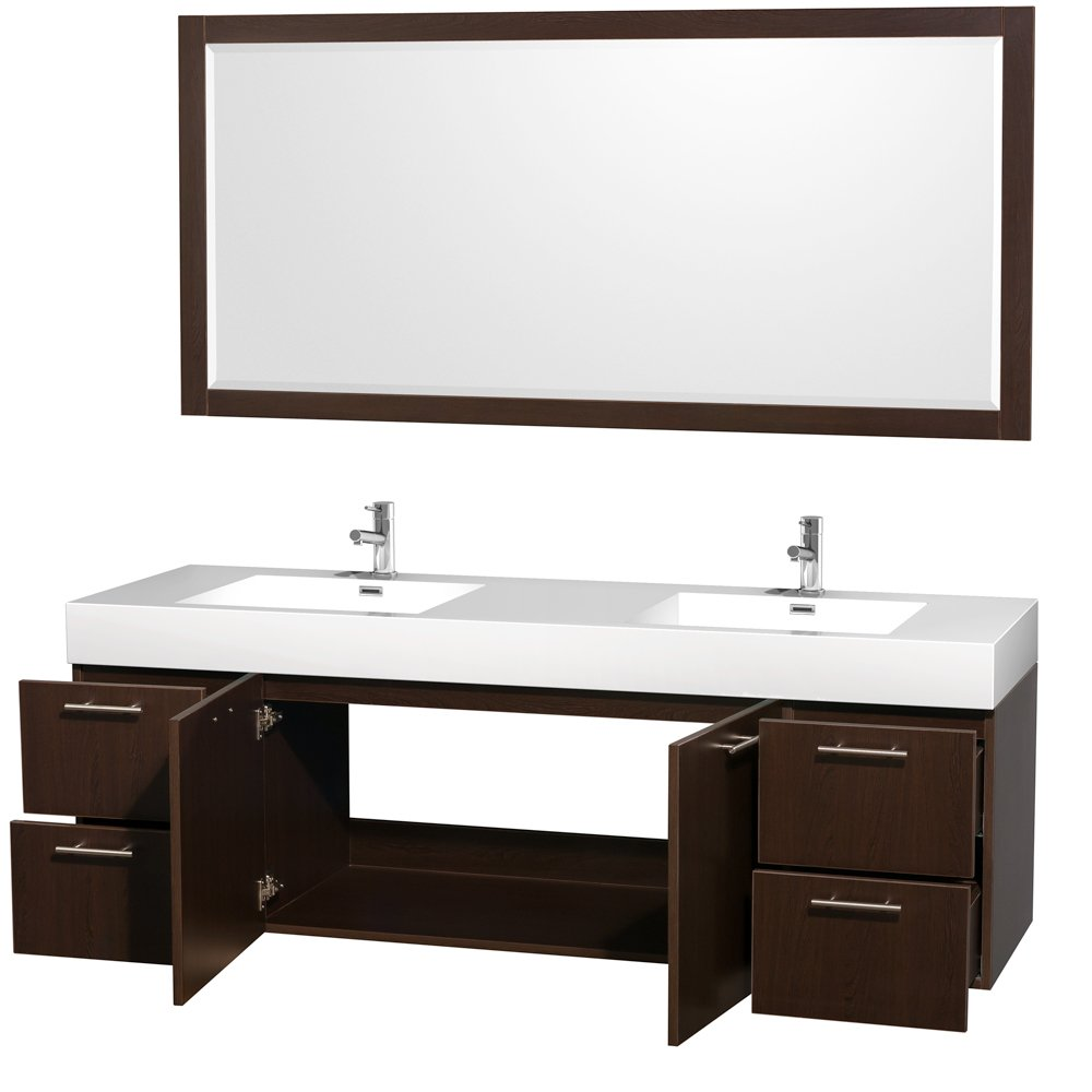 Wyndham Collection Amare 72 Inch Double Bathroom Vanity In Espresso With  Acrylic Resin Top, Integrated Sinks, And 70 Inch Mirror   Vanity Sinks    Amazon.com