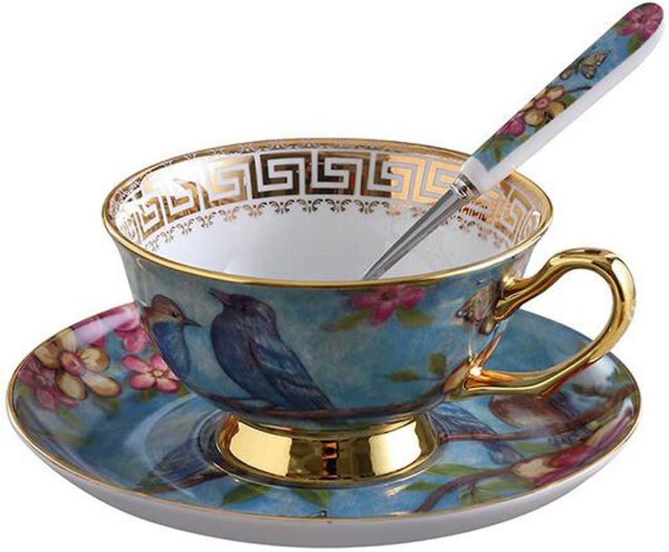 Blue YBK Tech Euro Style Cup/& Saucer Set Art Bone China Ceramic Tea Coffee Cup for Breakfast Home Kitchen