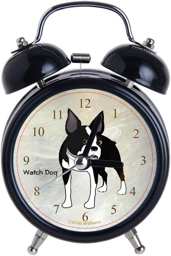 Children's Alarm Clock Vintage Retro Silent Pointer Clocks Round Number Dual Bell Loud Black Alarm Clock Bedside Night Light Home Decors Boston Terrier Watch Dog