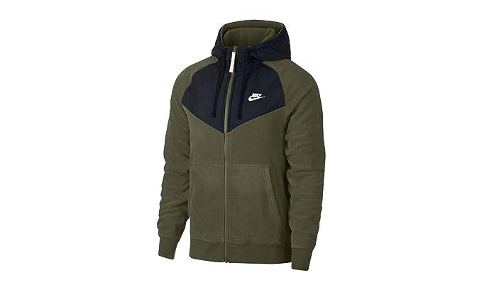 702a43201622 NIKE Sportswear Club Mens Full Zip Hoodie Olive Black White 929114-395 (