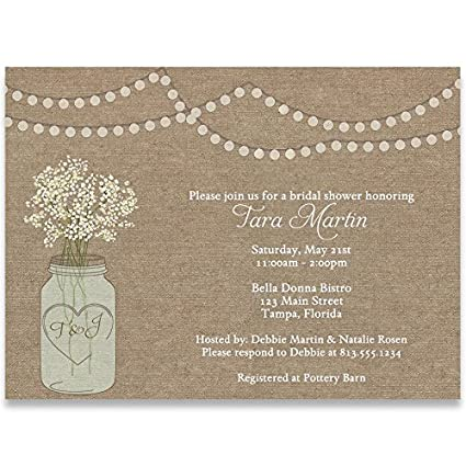 Amazoncom Bridal Shower Invitations Burlap Mason Jar Flowers