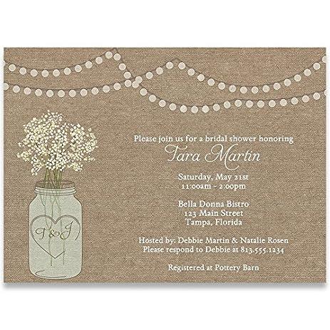 Amazon.com : Bridal Shower Invitations, Burlap, Mason Jar, Flowers ...