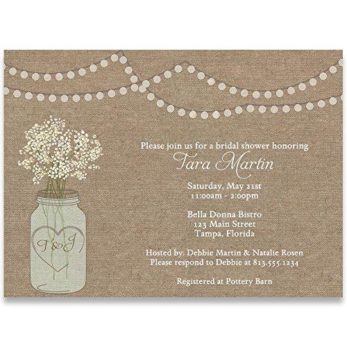 Bridal Shower Invitations, Burlap, Mason Jar, Flowers, Country, Rustic, Chic, Baby's Breath, Wedding, Personalized, Customized, Set of 10 Printed Invites with Envelopes, Burlap Mason Jar