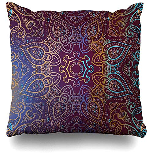 (Throw Pillow Cover India Vintage Indian Abstract Diamond Ornamental Pattern Tribal Arabic Asian Design Cushion Case Home Decor Square Size 18 x 18 Inches Design)