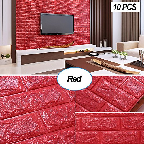 Masione 3D Foam Wall Panels Red Brick Wallpaper Self-adhesive Removable for TV Walls, Background Wall Decor (Red-10PCS)