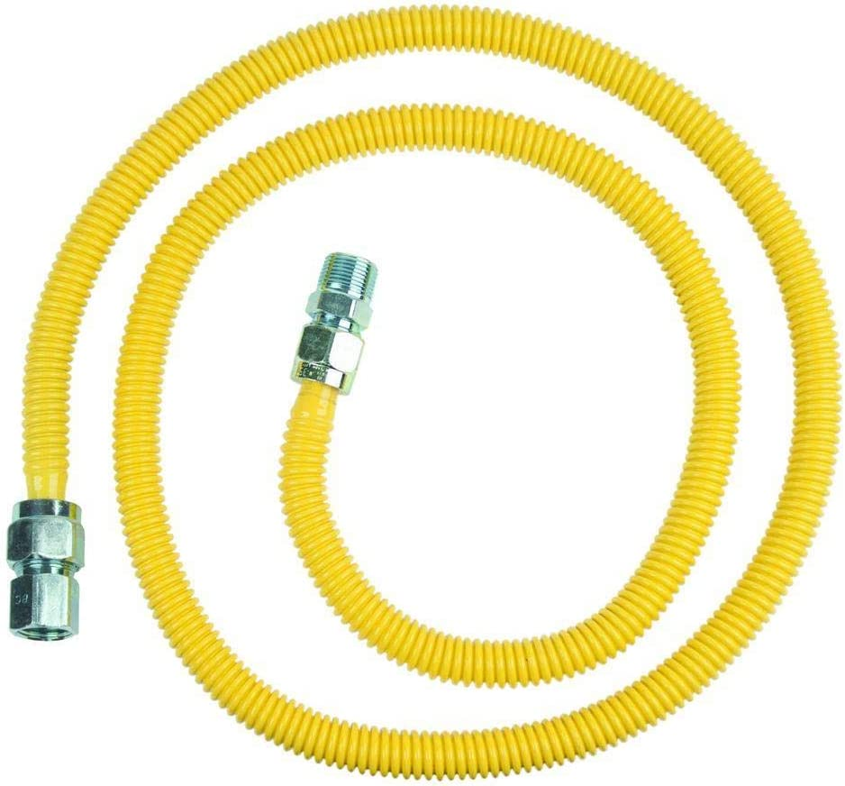 """Appliance Pros 72"""" Flexible Stainless Steel Gas Line for Dryer with 1/2"""" OD 1/2 MIP x 1/2 FIP"""
