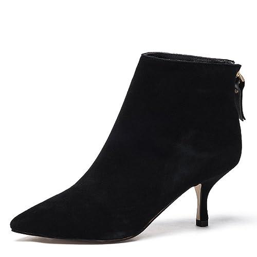 Mujer Cuero Botines Negro Botas Invierno Zapatos Puntiagudo Medio Bajos Stilettos Tacon Con Cremallera: Amazon.es: Zapatos y complementos