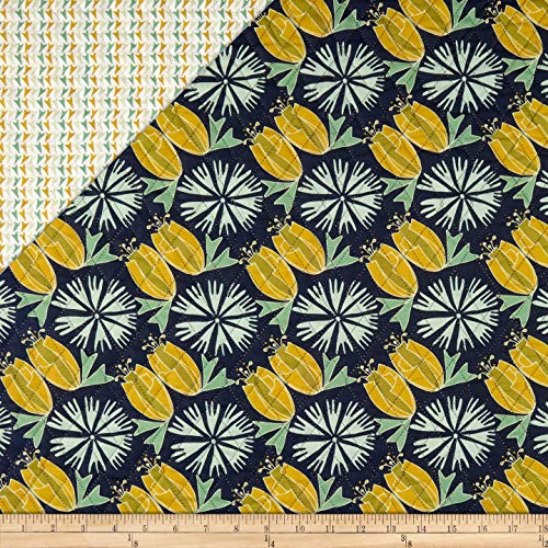 Double Sided Pre Quilted Fabric - Fabri-Quilt Paintbrush Studio Fabrics Bloom Pre-Quilted Print Tulips & Flowers Navy/Aqua Fabric by the Yard