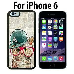 Cute Hipster Cat Custom Case/ Cover/Skin *NEW* Case for Apple iPhone 6 - Black - Plastic Case (Ships from CA) Custom Protective Case , Design Case-ATT Verizon T-mobile Sprint ,Friendly Packaging - Slim Case