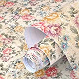 floral shelf liner adhesive - yazi Self-Adhesive Shelf Liner Drawer Contact Paper,17x78 Inches,Vintage Peony