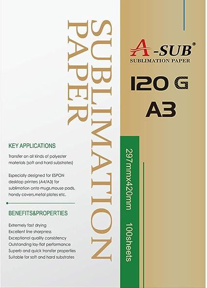 A-SUB - Papel de sublimación (A3, 120 g) A3, 100 Sheets: Amazon.es: Oficina y papelería