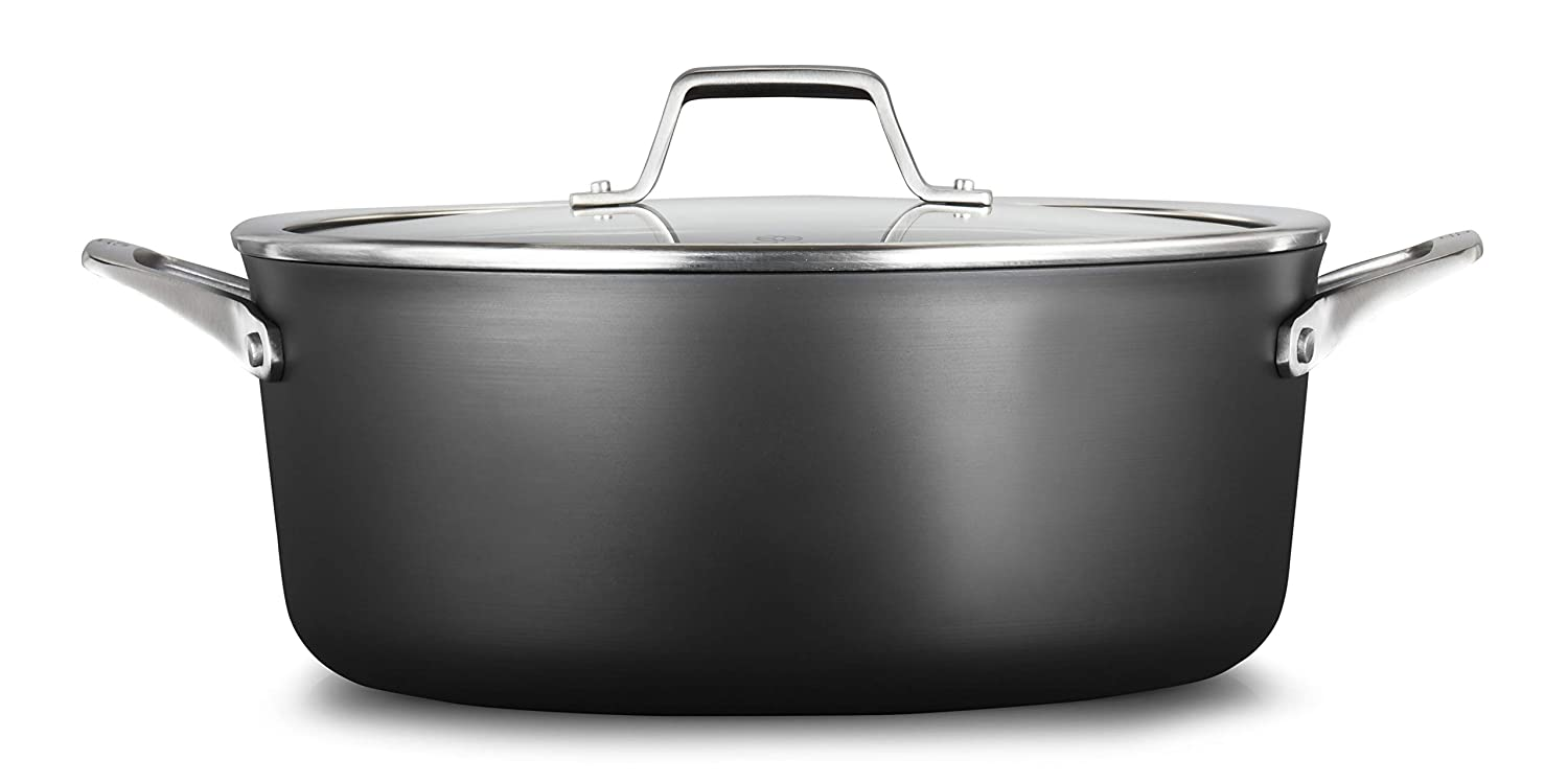 Calphalon 2029654 Premier Hard-Anodized Nonstick 8.5-Quart Dutch Oven with Cover, QT, Black