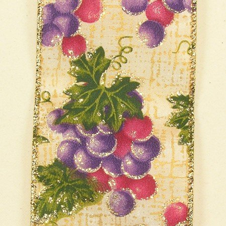 Purple fall grapes theme wired craft ribbon 2 5 x 40 for Buy grape vines for crafts