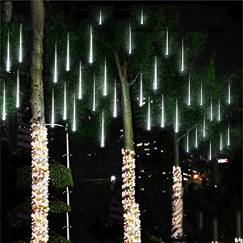 Amicool Meteor Shower Lights, Falling Rain Lights/Icicle Snow String Lights with 30cm 8 Tubes 144 Waterproof LEDs for Wedding Party Holiday and Christmas Decorations(White) (Lights Outdoor Christmas)