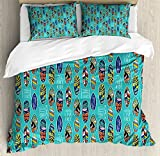 Surfboard Duvet Cover Set Queen Size by Ambesonne, Aloha Hawaii Live Free Ocean Water Sports Inspired Pattern Coastal Inspirations, Decorative 3 Piece Bedding Set with 2 Pillow Shams, Multicolor