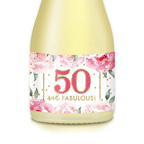 Party Decor Idea For Womans 50th Birthday Mini Champagne Wine Bottle Labels Set