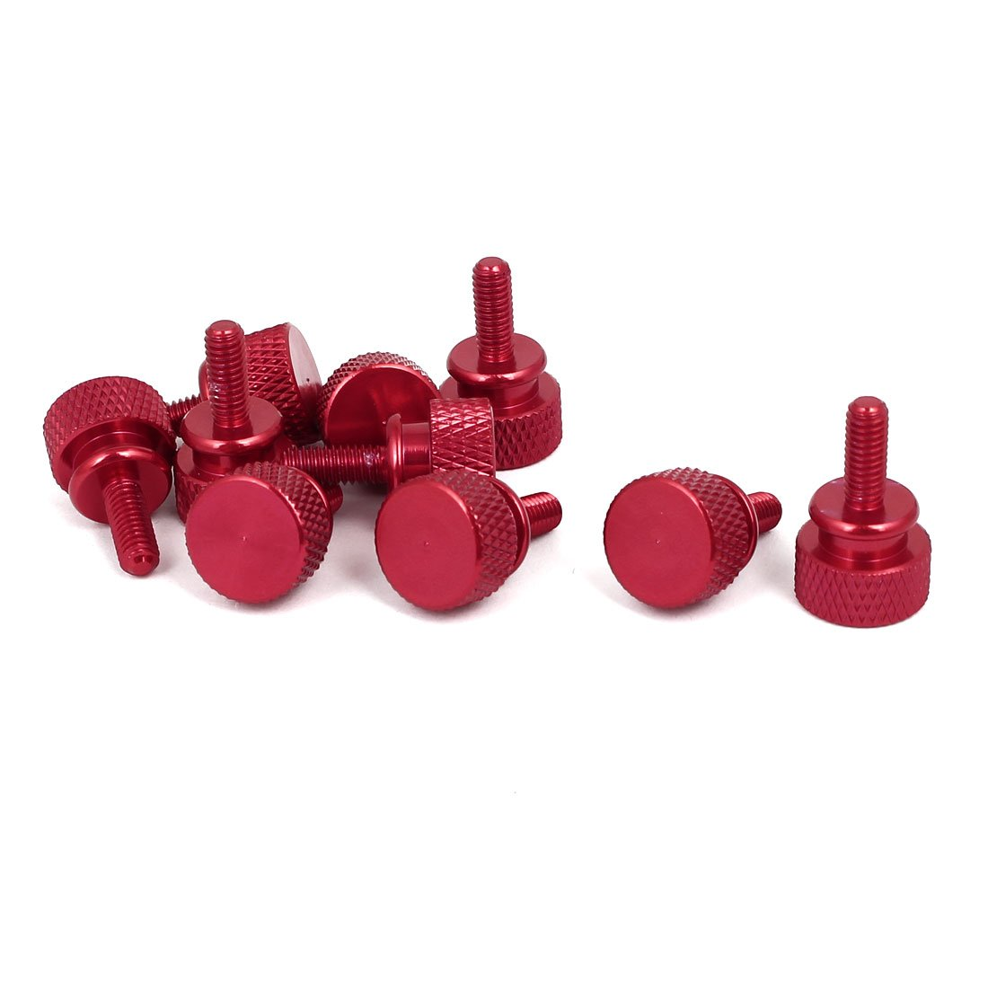 uxcell Computer PC Case M4x10mm Shoulder Type Knurled Thumb Screw Wine Red 10pcs