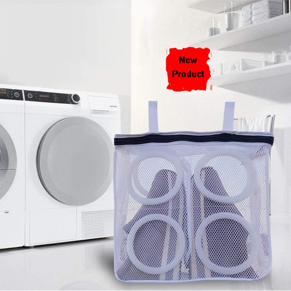 Shoes Wash Bag for Trainers,Sneakers,Boots,Slippers,Large Padded Mesh Shoes Protector in Washing Machine with Hanging Rope,Travel Laundry Drying Organizer for Underwear Bra Lingerie Sock (White)
