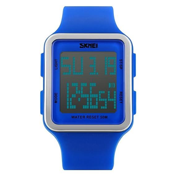 Resistente al agua relojes digitales de moda hombres/Chicos moda jalea multifunción reloj-C
