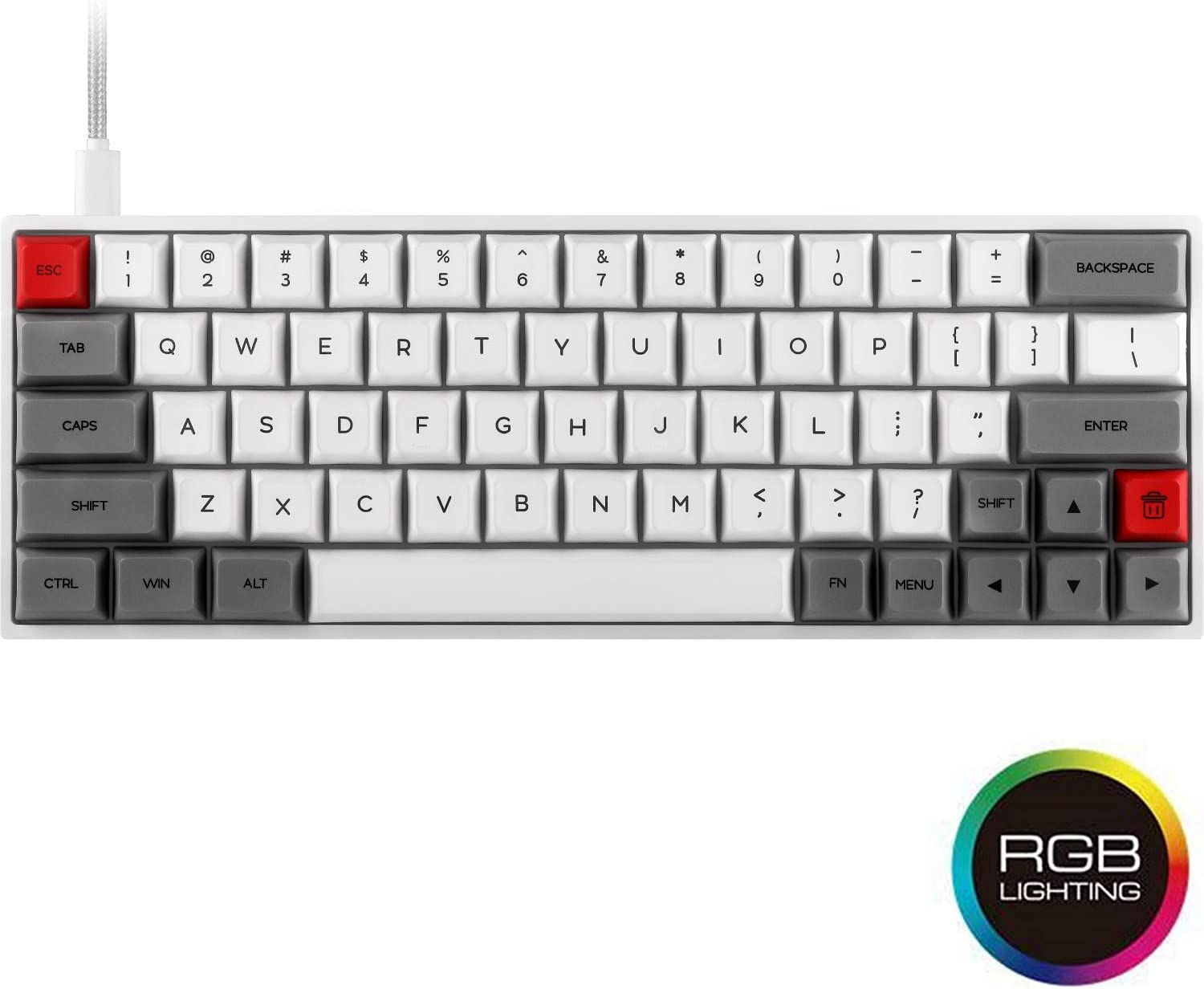 SK64 Grey Wired 60% Keys NKRO Gateron Optical Axis - 64 Keys Multi Color RGB Backlit Mechanical Gaming Keyboard with PBT Heat Sublimation Keycaps Waterproof Programmable (Gateron Brown Switch)