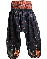 Womens Indian Paisley and Peacock Print Cotton Bohemian Yoga Harem Gypsy Pants