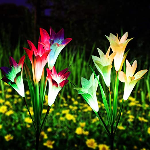 Multi-Color Changing LED Solar Landscape Lighting Light For Decorating The Path Lawn,Patio Yard Solar Garden Stake Lights Outdoor,2 Pack Solar Powered Lights with 8 Lily Flower White and Purple