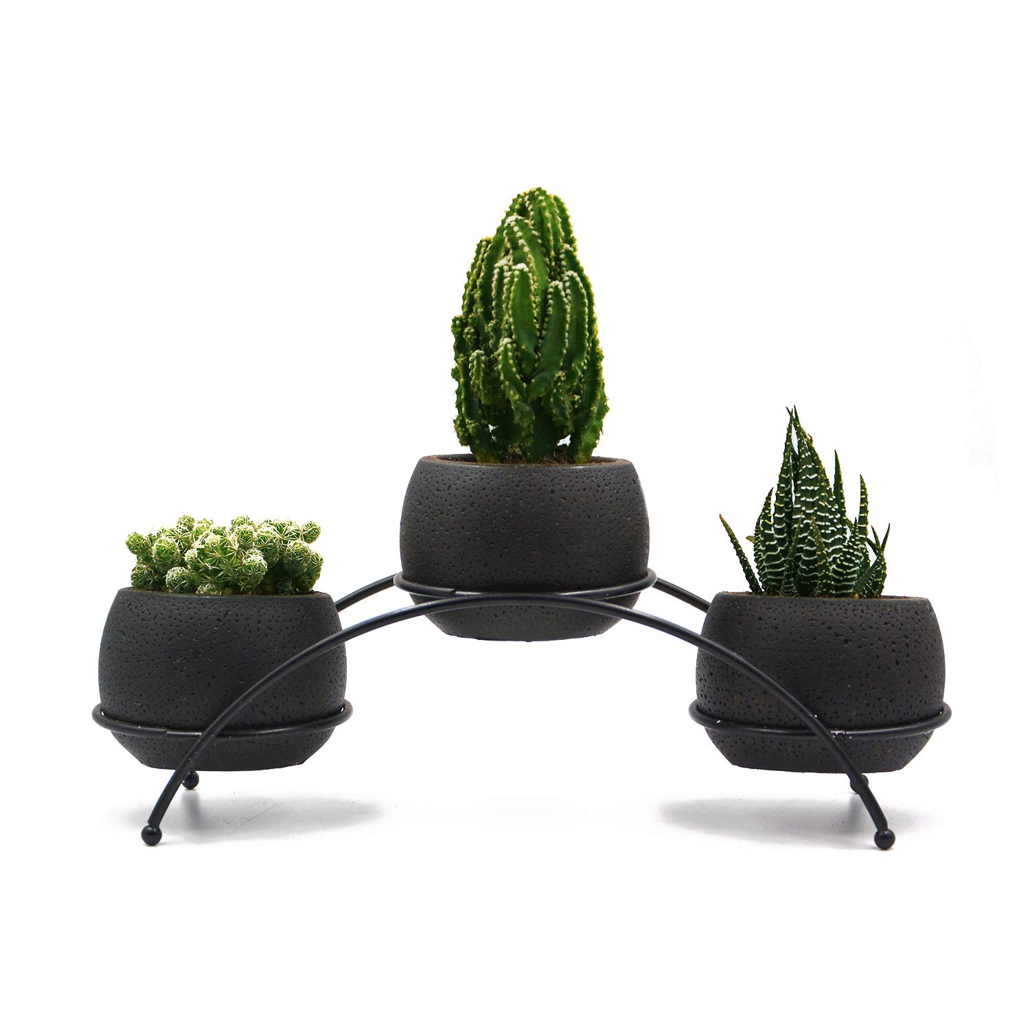 UDMG 3pcs Mini Black Succulent Cactus Cement Planter with a Iron Arch Frame Stand Holder, Small Plant Pot with Drainage, Modern Decorative Home Office Desk Garden Indoor Decoration
