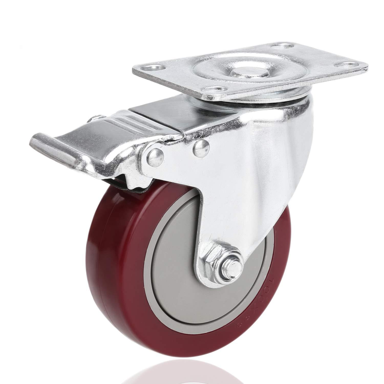 Voluker Roulette Pivotante avec Frein 4 Puces, Lot de 4 Roulettes pour Meubles avec Capacité de Capacité de 400kg, Rouge Lot de 4 Roulettes pour Meubles avec Capacité de Capacité de 400kg