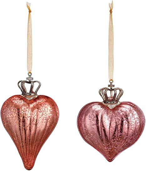 Amazon Com Crowned Heart Blush Pink And Rose 5 X 4 Glass Christmas Ornaments Set Of 2 Kitchen Dining