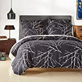 Dark Plum Duvet Cover Duvet Cover Set with Zipper Closure-Branch and Plum Blue Printed Pattern,Full/Queen (90
