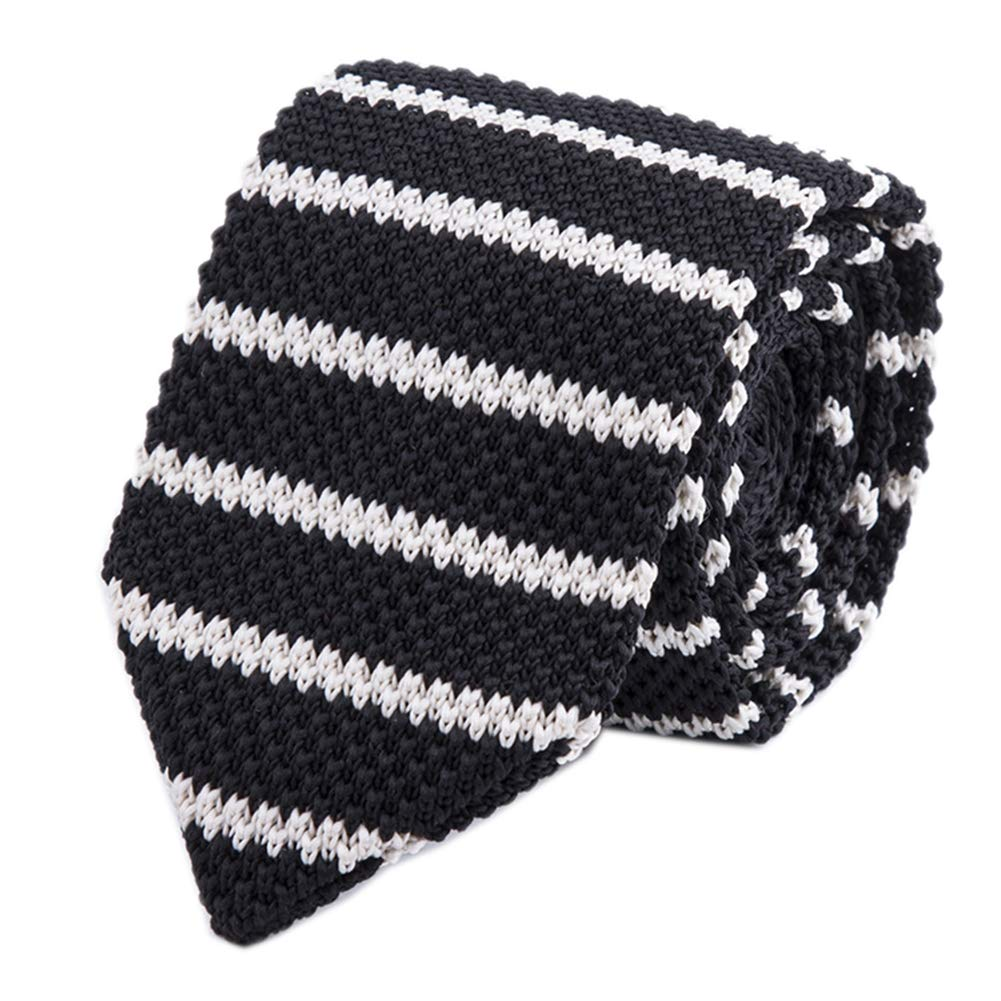 Men Black White Knit Neck Ties Narrow Stripe Neckties Accessory Gift for Husband