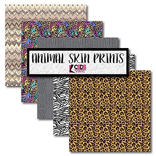 CSDS Vinyl Bundle Pack Animal Print Vinyl, Zebra Animal Print, Printed Adhesive Vinyl, Leopard Patterned, Cheetah Print, Animal Skin Vinyl (Adhesive Vinyl)