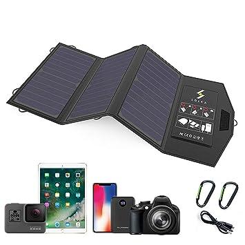 SOLKA Cargador Solar 5V 21W Panel Solar con Puertos USB Dobles Resistente al Agua Plegable para Teléfonos Móviles Tabletas Banco de Energía y Viajes ...