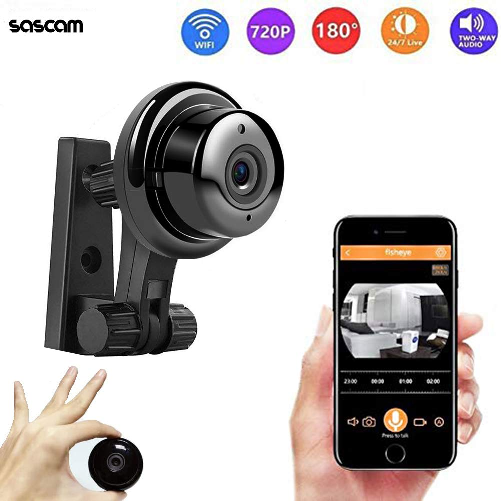 Mini Wireless Hidden Camera HD 720P Surveillance Camera Small Camera, Fisheye WiFi Security Camera with Night Vision Two-Way Call Motion Detection, Home Car Office for iOS Android Black