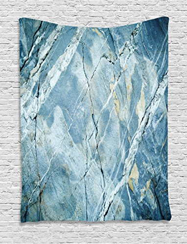 Ambesonne Marble Tapestry, Exquisite Granite Stone Architecture Floor Artistic Nature Faded Rock Picture, Wall Hanging for Bedroom Living Room Dorm, 40 W X 60 L Inches, Light Blue Grey