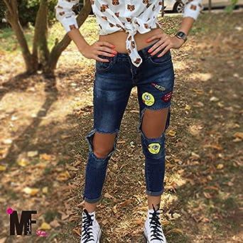 Da Segnale Razionale  MADE for shop - Jeans Donna Pantaloni Vita Alta Strappati Aperti Tagli  Ginocchia Smile H1110, Colore: Jeans, Taglia: XL: Amazon.it: Abbigliamento