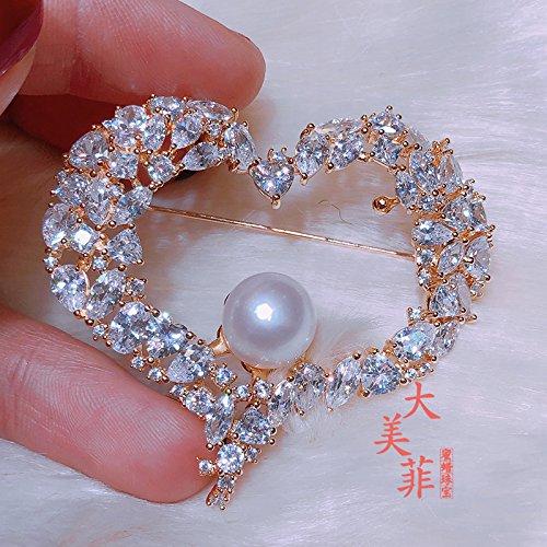 (TKHNE Valentine love heart-shaped brooch pin badge natural freshwater pearl brooch pin badge flash diamond shape love)