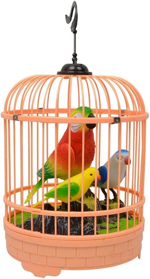 rongweiwang Color al Azar niños electrónicos interactivos Hablar Birdcage jardín Adornos Hablar Juguetes Mascotas Simulación Jaula de pájaros de Jaula de grillos niños Birthdayr Regalo