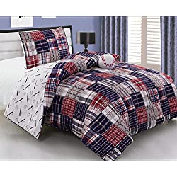 3 - Piece Kids TWIN SIZE BASEBALL Sports theme Comforter set with Plush Toy Included-Navy Blue, Red, White and Beige Plaid. Boys, Girls, Guest Room and School Dormitory Bedding